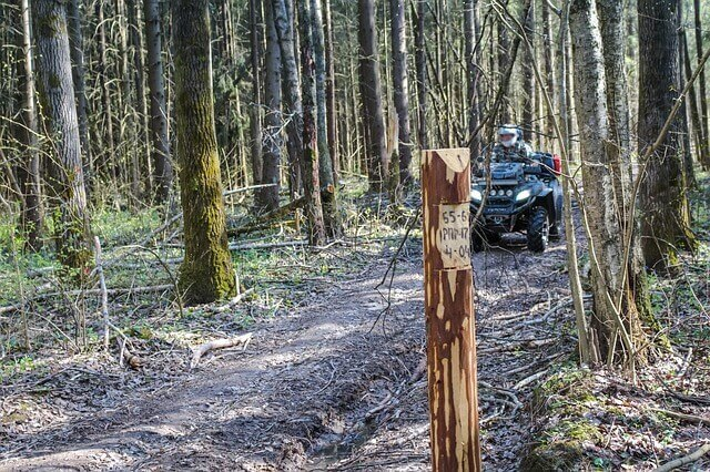 Image of an ATV driver on a wooded trailer, representing how a WV four wheeler injury lawyer can help protect your rights if your trail ride ends in an accident.
