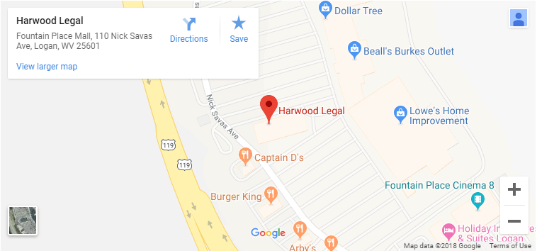 Google map with the address of Harwood Legal.
